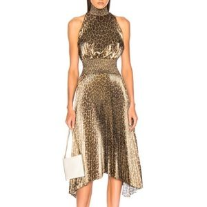 A.L.C Renzo Leopard Print Metallic Foil Dress